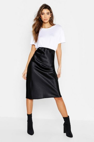 Black Satin Bias Cut Midi Skirt