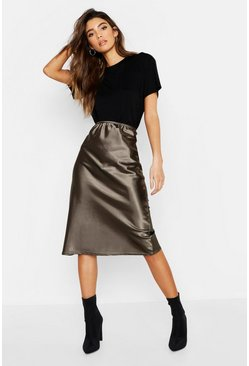 Khaki Satin Bias Cut Midi Skirt