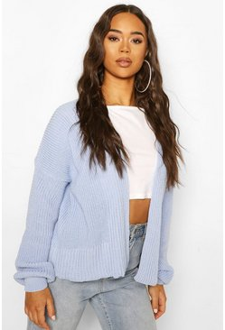 Pastel blue Oversized Rib Cropped Cardigan