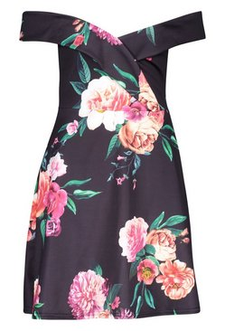 Black Bardot Sweetheart Floral Skater Dress