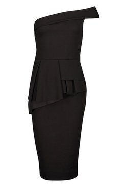 Black Bardot Waist Peplum Midi Dress