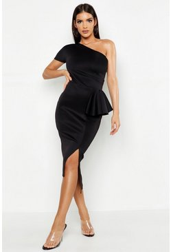 One Shoulder Split Midi Dress, Black nero