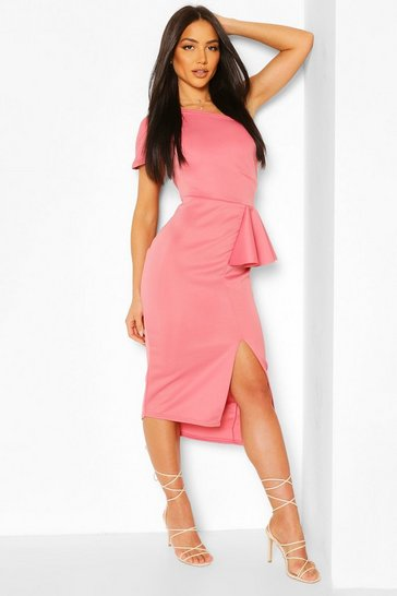 Blush pink One Shoulder Split Midi Dress