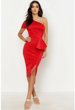 Red One Shoulder Split Midi Dress