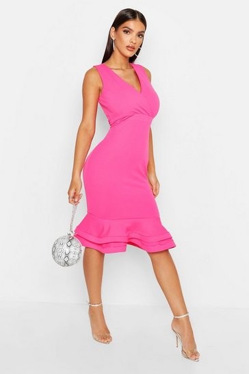 Hot pink Wrap Sleeveless Fishtail Ruffle Midi Dress