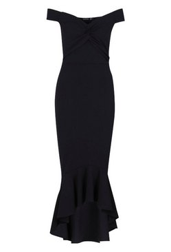 Black Fishtail Dip Hem Maxi Bridesmaid Dress