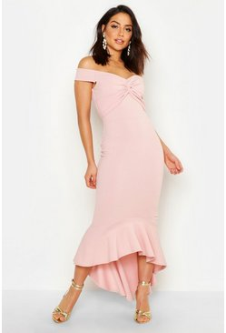 Soft pink pink Fishtail Dip Hem Maxi Bridesmaid Dress