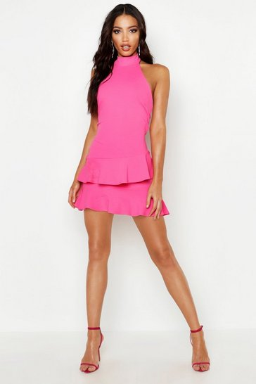 Hot pink Halterneck Double Ruffle Mini Dress