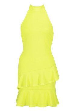 Lime Halterneck Double Ruffle Mini Dress