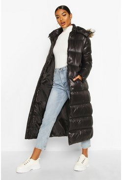 Black Maxi Cire Panelled Padded Jacket With Faux Fur Trim