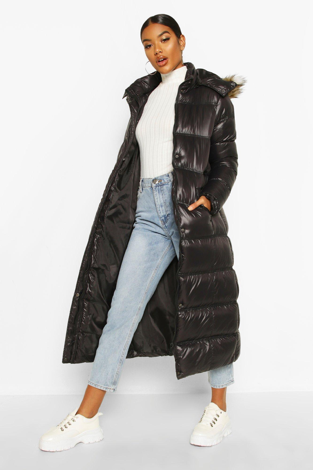 Puffer Jackets Maxi Cire Panelled Padded Jacket With Faux Fur Trim
