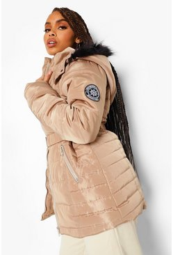 Stone beige Faux Fur Hooded Belted Parka