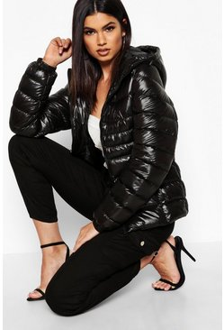 Black Hooded Cire Panelled Jacket