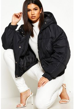 Black Oversized Raglan Puffer Jacket