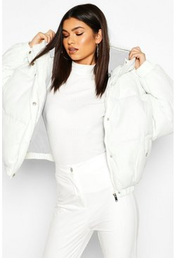 Cream white Oversized Raglan Puffer Jacket