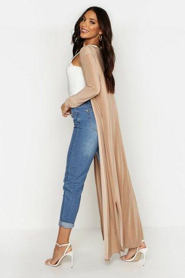Camel beige Maxi Slinky Side Split Kimono
