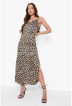 Woven Leopard Maxi Slip Dress, Black nero