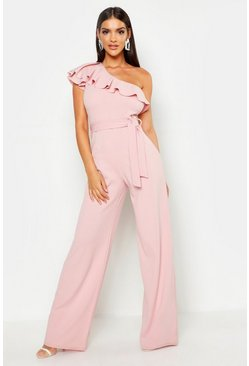 Soft pink pink One Shoulder Tie Belt Wide Leg Jumpsuit