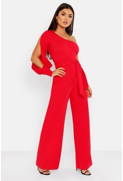 Red Split Sleeve Jumpsuit