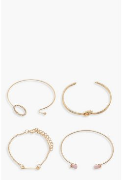 Gold metallic Knot & Diamante Bracelet Pack