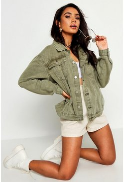 Khaki Super Oversized Rigid Denim Jacket