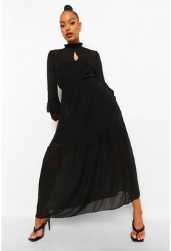 Black High Neck Frill Sleeve Maxi Dress