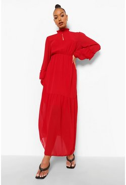Red High Neck Frill Sleeve Maxi Dress