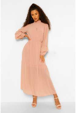 Soft pink pink High Neck Frill Sleeve Maxi Dress