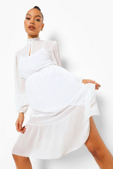 White High Neck Frill Sleeve Maxi Dress