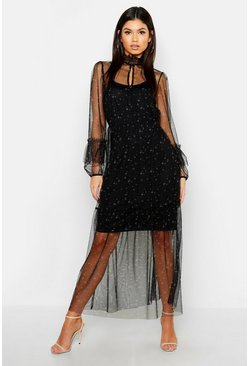 Black Boho Ditsy Floral Shirring Detail Maxi Dress