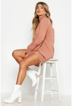 Rose pink Shirred Neck & Cuff Smock Dress