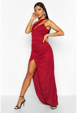Berry red One Shoulder Maxi Dress