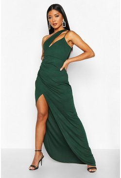 Bottle green green One Shoulder Maxi Dress