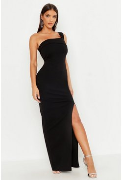One Shoulder Thigh Split Maxi Dress, Black nero