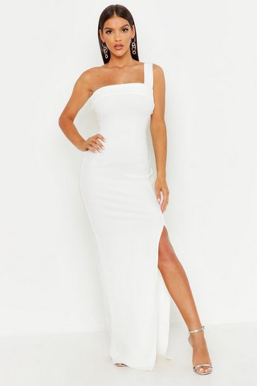 Ivory white One Shoulder Thigh Split Maxi Dress