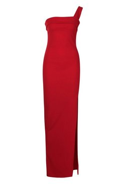 Red One Shoulder Thigh Split Maxi Dress