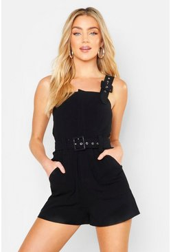 Black Belted Buckle Strap Playsuit