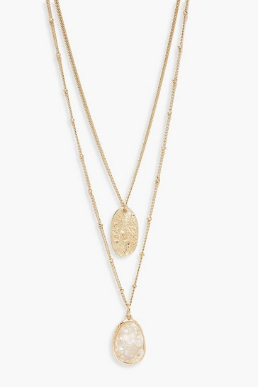 Gold metallic Textured Coin & Iridescent  Layered Necklace