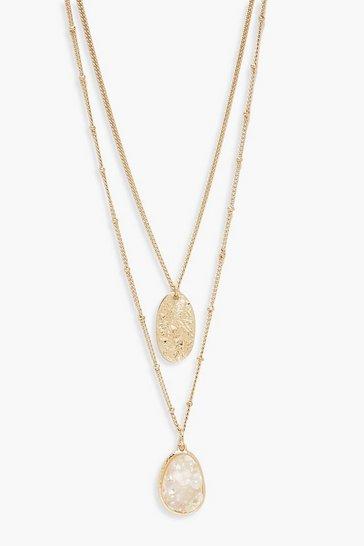 Gold metallic Textured Coin & Iridescent  Layered Necklace
