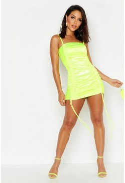 Lime green Strappy Stretch Satin Ruched Mini Dress