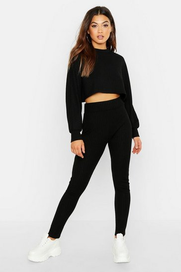 Black Rib Knitted Oversized Top & Legging Co-Ord Set