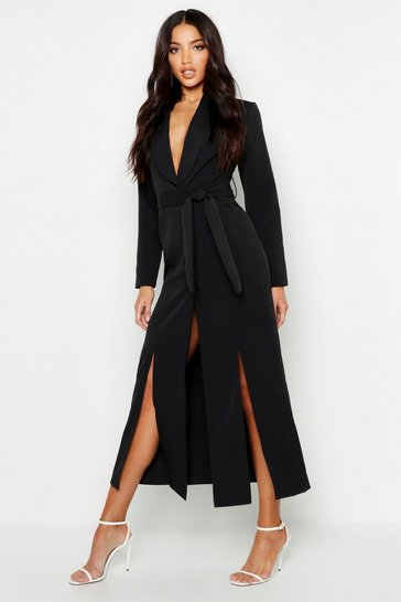 Black Woven Belted Split Detail Maxi Blazer Dress