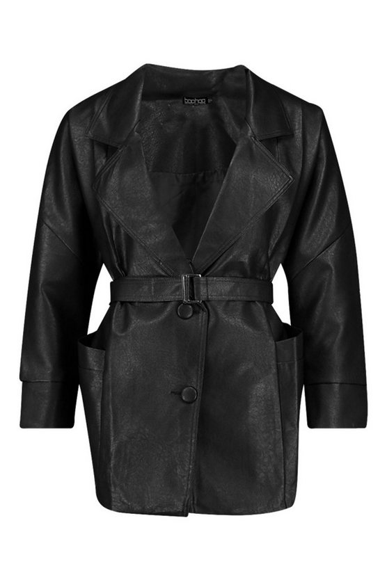 1930s Style Clothing and Fashion Womens Belted Wrap Faux Leather Jacket - Black - 10 $56.00 AT vintagedancer.com
