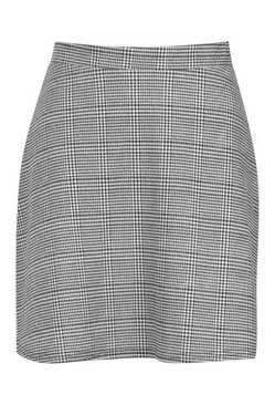Black Dogtooth Check A Line Mini Skirt