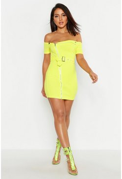 Lime green Zip Front Belted Mini Dress