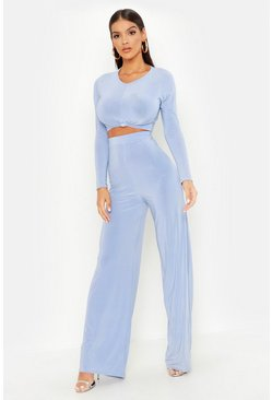 Baby blue blue Slinky Top Knot & Wide Leg Trouser Co-Ord Set