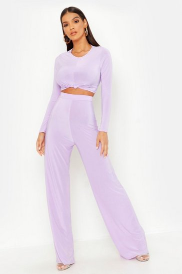 Lilac Slinky Top Knot & Wide Leg Trouser Co-Ord Set