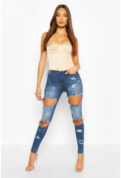 High-Waist Skinny Jeans in Destroyed-Optik, Mittelblau blau