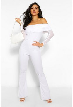 Ivory white Mesh Off The Shoulder Ruched Jumpsuit