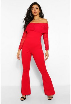 Red Mesh Bardot Ruched Jumpsuit